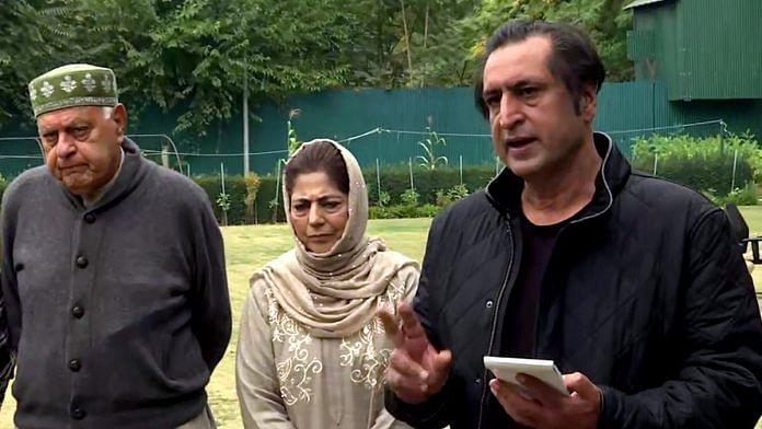 (From left) People's Alliance for Gupkar Declaration leaders Farooq Abdullah of the National Conference, Mehbooba Mufti of the PDP and Sajad Lone of the People's Conference | File photo: ANI