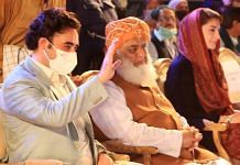 (L-R) Bilawal Bhutto Zardari, Fazlur Rahman and Maryam Nawaz Sharif, during the PDM Karachi Jalsa, Oct | Twitter/@BBhuttoZardari