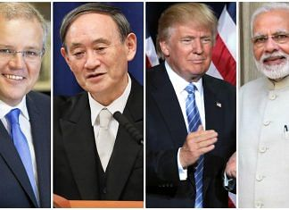 Australian PM Scott Morrison, Japanese PM Yoshihide Suga, US President Donald Trump and Indian PM Narendra Modi | Wikicommons