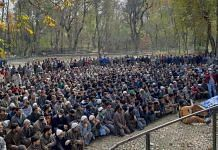 The funeral of Umer Ramzan, 24, in Kulgam Friday. The funerals of the three slain men drew massive crowds | Azaan Javaid | ThePrint