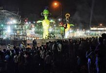Effigies of Ravana, Meghnad and Kumbhakaran before being burnt on the occasion of Dussehra in New Delhi, on 25 October 2020   ANI