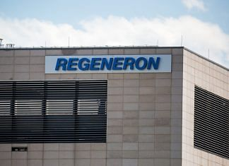 Regeneron Pharmaceuticals signage displayed outside their headquarters in Tarrytown, NY