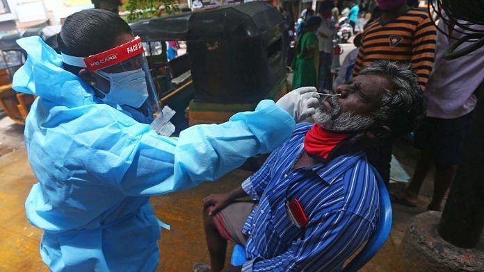 A man undergoes a Covid-19 test in Tamil Nadu | Photo: ANI
