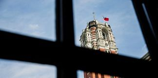 Taiwanese national flag flies atop the presidential palace in Taipei