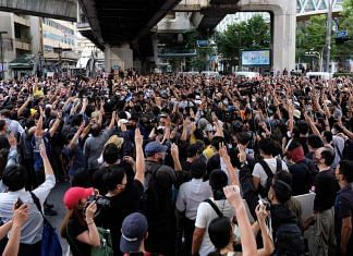 Thousands of protesters take part in a demonstration in Bangkok (file photo) | Twitter | @joshuawongcf