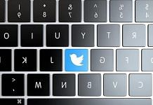 Twitter logo on keyboard