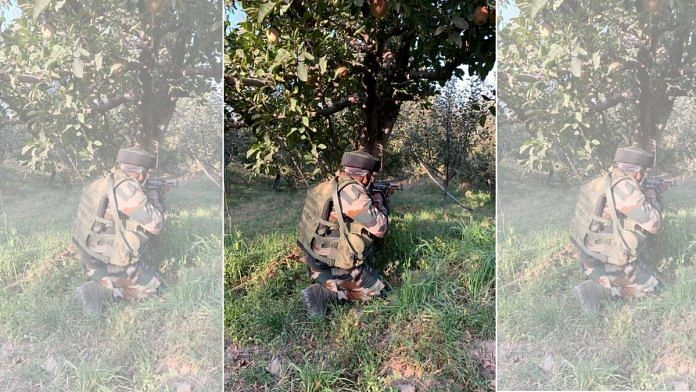 A soldier operating in an apple orchard in Shopian district of south Kashmir | Snehesh Alex Philip | ThePrint