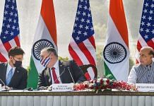 Defence Minister Rajnath Singh (R), U.S. Secretary of State Mike Pompeo (2L) and Secretary of Defence Mark Esper (L) during a press statement, at Hyderabad House in New Delhi, Tuesday, Oct. 27, 2020.   PTI Photo