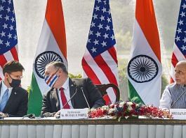 Defence Minister Rajnath Singh (R), U.S. Secretary of State Mike Pompeo (2L) and Secretary of Defence Mark Esper (L) during a press statement, at Hyderabad House in New Delhi, Tuesday, Oct. 27, 2020. | PTI Photo