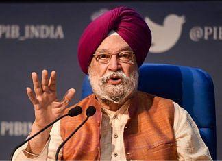 File image of Union minister Hardeep Singh Puri | Photo: Vijay Verma | PTI