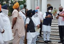 Governor Dhankhar with a delegation led by Manjinder Singh Sirsa, the president of Delhi Sikh Gurdwara Management Committee | By special arrangement