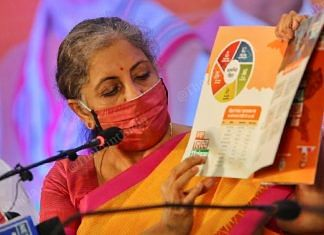 Finance Minister Nirmala Sitharaman at the release of the BJP's Bihar manifesto in Patna Thursday | Photo: Praveen Jain | ThePrint