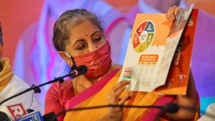Finance Minister Nirmala Sitharaman at the release of the BJP's Bihar manifesto in Patna Thursday   Photo: Praveen Jain   ThePrint