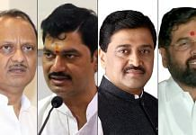 (From left) Ajit Pawar, Dhananjay Munde, Ashok Chavan & Eknath Shinde are among the Maharashtra cabinet ministers who have tested positive for Covid | Source: Twitter & ANI