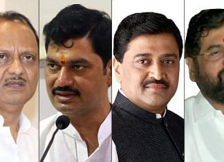 (From left) Ajit Pawar, Dhananjay Munde, Ashok Chavan & Eknath Shinde are among the Maharashtra cabinet ministers who have tested positive for Covid   Source: Twitter & ANI