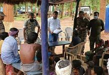 Security personnel and villagers at a newly opened police camp in Narayanpur. | Photo: Special arrangement