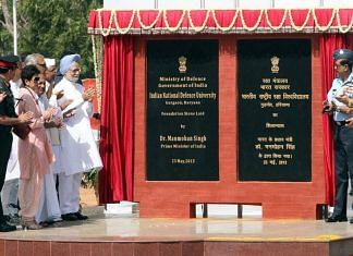 Then-PM Manmohan Singh and other dignitaries at the foundation stone-laying ceremony for the Indian National Defence University in 2013 | Photo: Integrated Defence Staff (ids.nic.in)