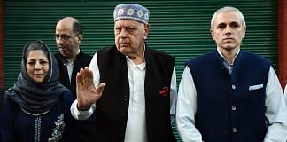 A file photo of National Conference president Farooq Abdullah and his son Omar Abdullah, and PDP chief Mehbooba Mufti after an all-party meeting in Srinagar.   Photo: ANI