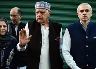 A file photo of National Conference president Farooq Abdullah and his son Omar Abdullah, and PDP chief Mehbooba Mufti after an all-party meeting in Srinagar. | Photo: ANI