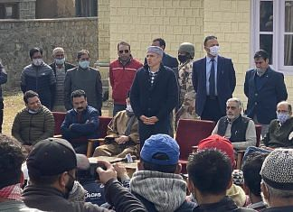 NC vice-president Omar Abdullah speaking at a gathering in Drass, Ladakh, as part of campaign by the Gupkar Alliance on 30 October, 2020   @OmarAbdullah   Twitter