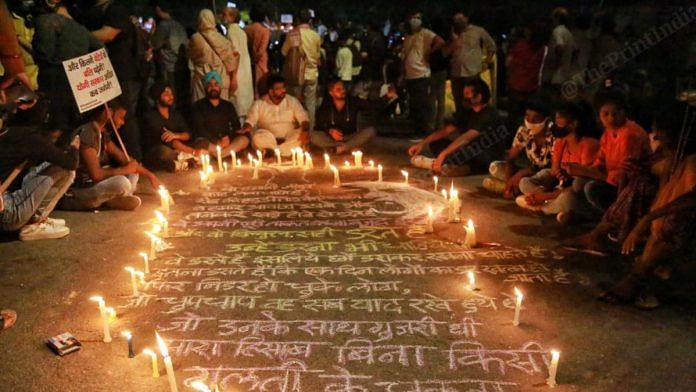People gather at the Jantar Mantar to demand justice for the Hathras 'gang-rape' and murder victim, on 2 October | Manisha Mondal | ThePrint