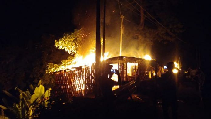 Houses in Lailapur, Cachar, set on fire on the night of 17 October 2020 | By special arrangement