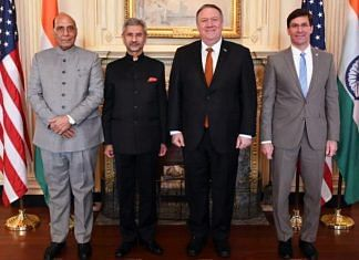 A file photo of Defence Minister Rajnath Singh, External Affairs Minister S. Jaishankar, US Secretary of State Michael Pompeo and US Secretary of Defense Mark Esper at the 2+2 dialogue in Washington in December 2019. | Photo: ANI