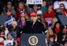 US President Donald Trump speaks during a rally on 3 November 2020 in Grand Rapids, Michigan | Photographer: Kamil Krzaczynski/Getty Images North America via Bloomberg