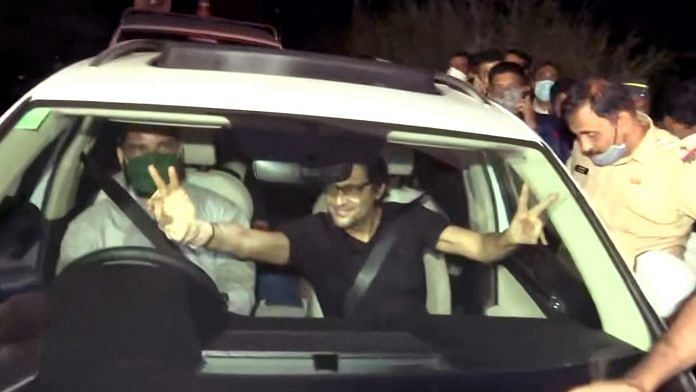 Arnab Goswami after being released from Taloja Central Jail in Navi Mumbai on 11 November