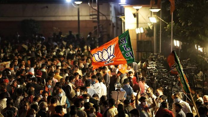 Representational image of BJP workers and supporters | Manisha Mondal | ThePrint