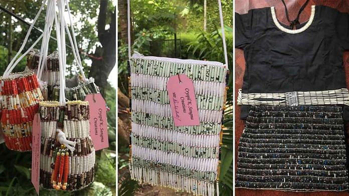 Garo clothes and accessories made by Cryspil K.Sangma from recycled material | Facebook