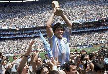 Diego Maradona after winning the 1986 FIFA World Cup