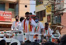 Karnataka Congress president D.K. Shivakumar campaigns at the R.R. Nagar assembly constituency | Twitter: @INCKarnataka
