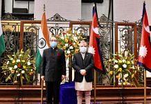 India's Foreign Secretary Harsh Vardhan Shringla (left) with his Nepalese counterpart Bharat Paudyal in Kathmandu Thursday | Photo: Twitter | @IndiainNepal