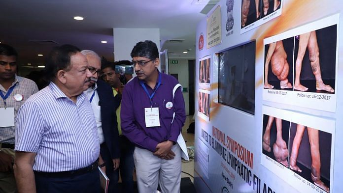 Health Minister Harsh Vardhan at the National Symposium United to Elimination Lymphatic Filariasis in New Delhi on 30 October 2019   nvbdcp.gov.in