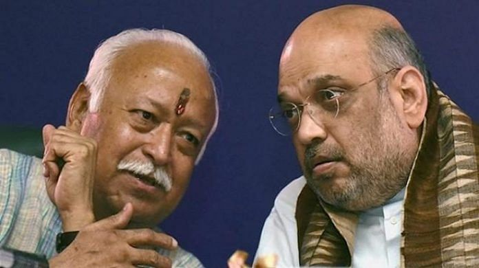 File photo | RSS chief Mohan Bhagwat with Home Minister Amit Shah | PTI