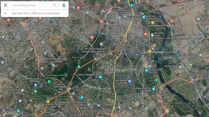 A screenshot of the New Delhi map | Google