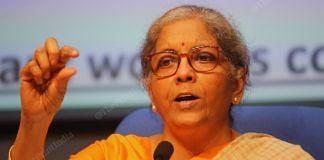 Finance Minister Nirmala Sitharaman addresses a press conference in New Delhi Thursday | Photo: Praveen Jain | ThePrint