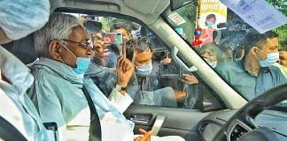 Bihar CM Nitish Kumar after casting his vote during the assembly polls | Praveen Jain | ThePrint