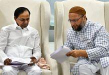 File photo of Telangana CM K. Chandrashekar Rao and AIMIM chief Asaduddin Owaisi | Twitter | @TelanganaCMO