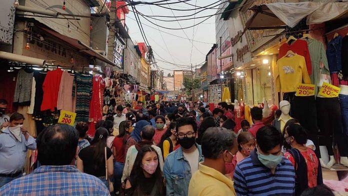 Shoppers in Lajpat Nagar on 1 November | Photo: Bismee Taskin | ThePrint