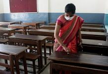 Representational image | School staff member sanitise school building for the sitting arrangements in the classrooms at Drona Public School, in Gurugram on Friday | ANI