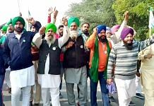 Farmers raise slogans during a protest rally on various demands, in Chandigarh on Tuesday   ANI Photo