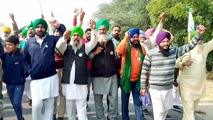Farmers raise slogans during a protest rally on various demands, in Chandigarh on Tuesday | ANI Photo