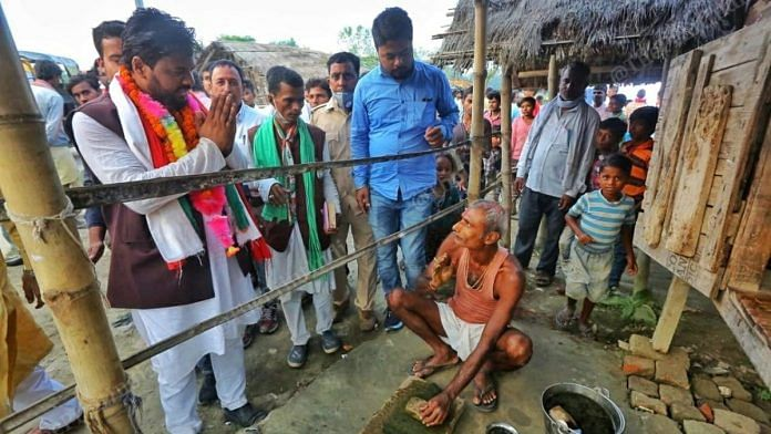 Congress's Maskoor Usmani during campaigning at his Jale assembly seat in Darbhanga district   Photo: Praveen Jain   ThePrint