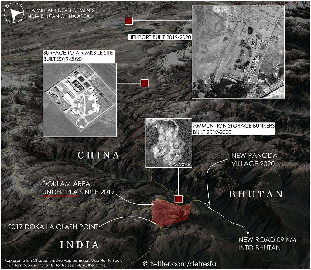 Satellite image of the region where the Chinese village has allegedly come up | Twitter: @detresfa_