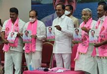 Telangana Chief Minister K. Chandrashekhar Rao releases his party's manifesto in Hyderabad Monday | By special arrangement