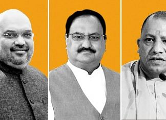 (From left) Union Home Minister Amit Shah, national BJP president J.P. Nadda and Uttar Pradesh Chief Minister Yogi Adityanath   Illustration: Ramandeep Kaur