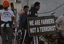 Farmers protesting at the Delhi-Haryana border | Photo: Manisha Mondal | ThePrint