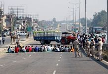 Representational image | A file photo of farmers blocking Amritsar-Delhi National Highway during their four hours statewide Chakka Jam near Jalandhar on 5 November. | Photo: ANI